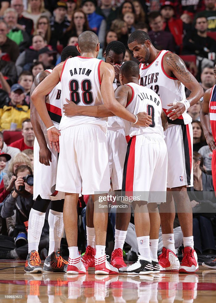 The Portland Trail Blazers huddle up during the game against the Washington Wizards on January 21, 2013 at the Rose Garden Arena in Portland, Oregon.