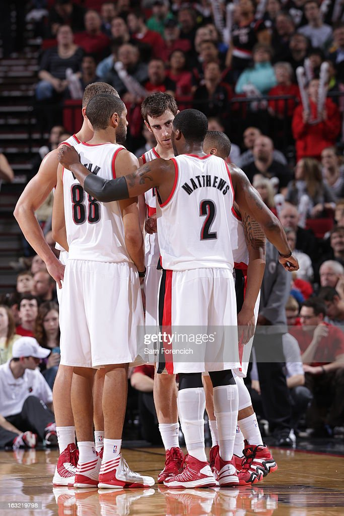 The Portland Trail Blazers huddle up during the game against the Denver Nuggets on February 27, 2013 at the Rose Garden Arena in Portland, Oregon.