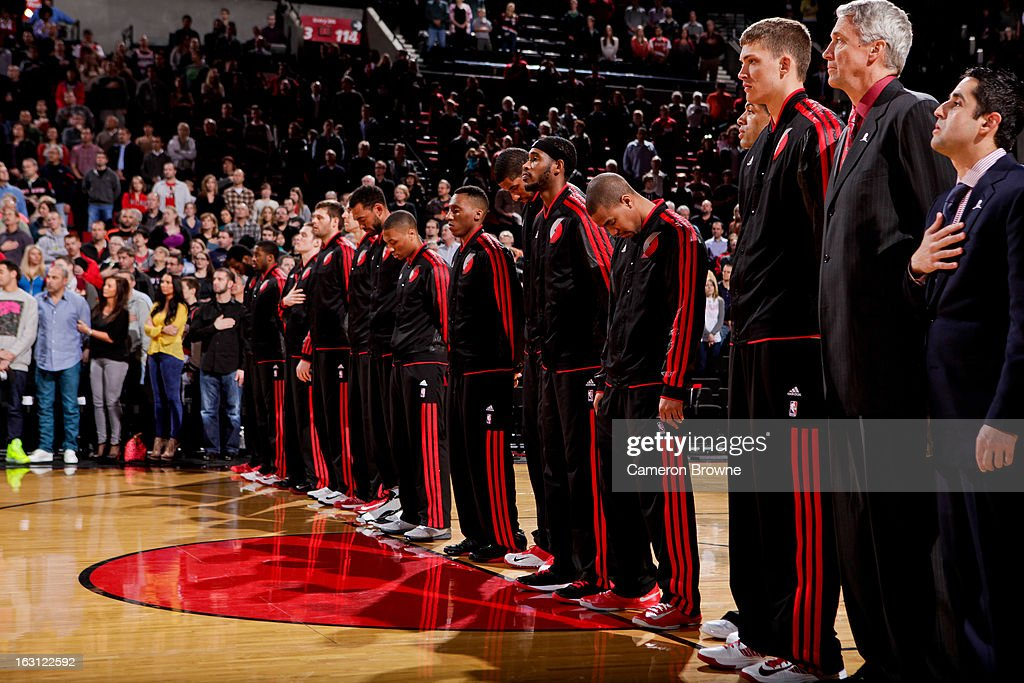 The Portland Trail Blazers listen to the National Anthem before playing against the Charlotte Bobcats on March 4, 2013 at the Rose Garden Arena in Portland, Oregon.