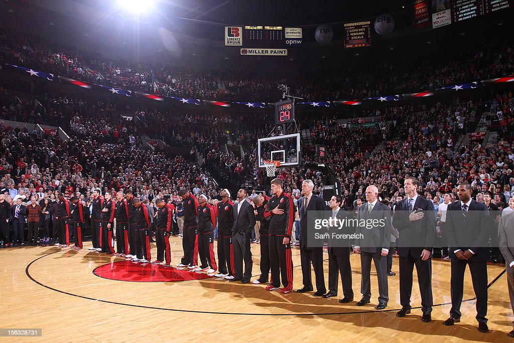 The Portland Trail Blazers team stands for the national anthem before the game against the Los Angeles Clippers on November 8, 2012 at the Rose Garden Arena in Portland, Oregon.