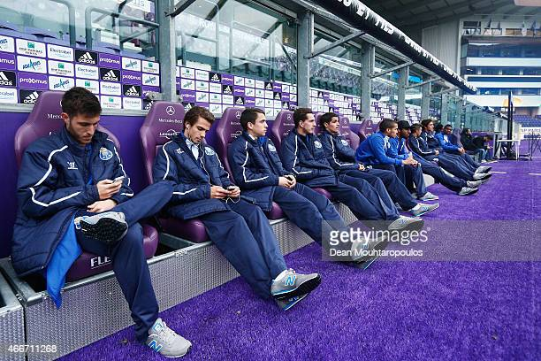 The Porto players sit on the bench prior to the UEFA Youth League quarter final match between RSC Anderlecht and FC Porto at Constant Vanden Stock...