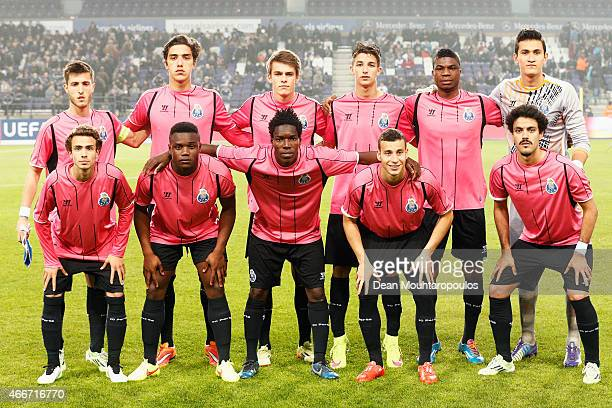 The Porto team line up during the UEFA Youth League quarter final match between RSC Anderlecht and FC Porto at Constant Vanden Stock Stadium on March...