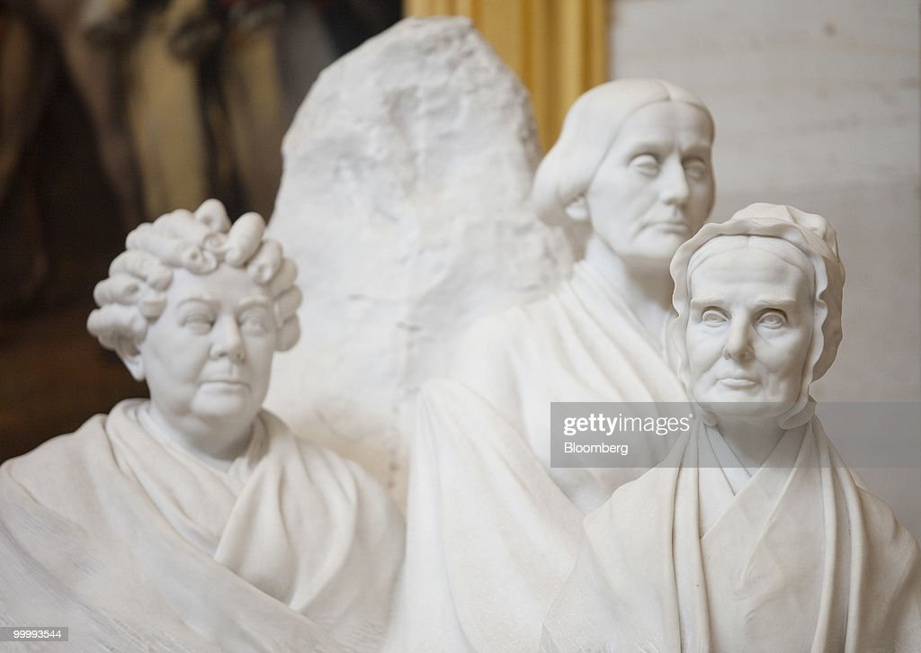 The portrait monument to Lucretia Mott, Elizabeth Cady Stanton, and Susan B. Anthony statue sits in the Capitol building rotunda in Washington, D.C., U.S., on Monday, May 17, 2010. The Capitol is the meeting place for the Senate and House of Representatives. Photographer: Andrew Harrer/Bloomberg via Getty Images