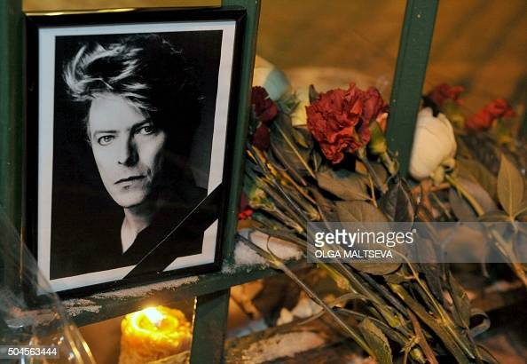 The portrait of David Bowie has been laid during a memorial event for the British singer at the consulate of Great Britain in St Petersburg on...