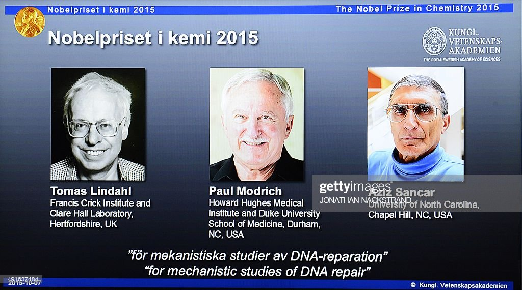 The portraits of the winners of the Nobel Prize in Chemistry 2015 Sweden's Tomas Lindahl Paul Modrich of US and TurkishAmerican Aziz Sancar are...