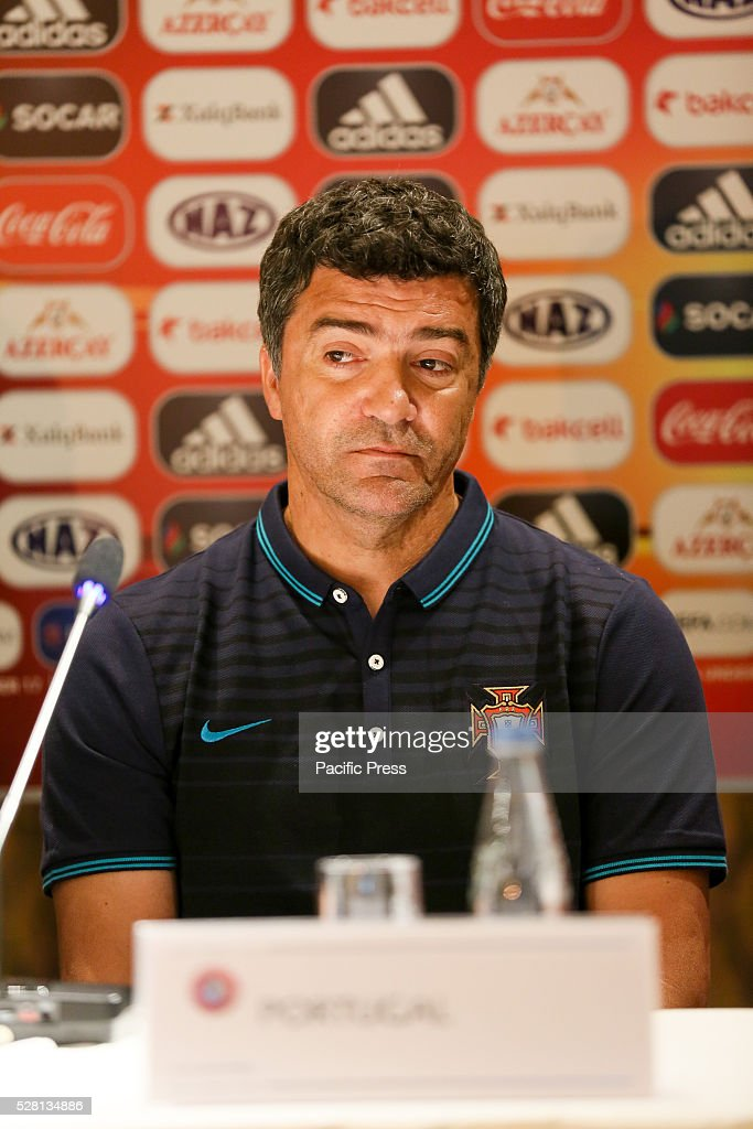 The Portugal Coach H��lio Sousa talks to the media during a UEFA European Under-17 Championship in Azerbaijan press conference at the Boulevard.