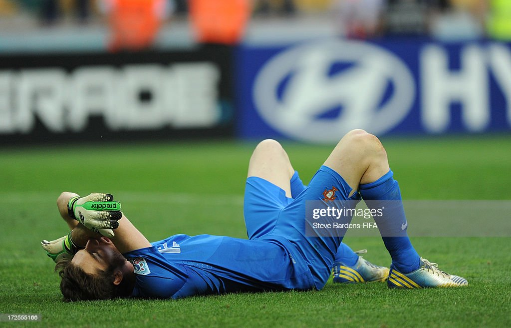 The Portugal goalkeeper Jose Sa lies on the pitch dejected after Portugal lose to Ghana during the FIFA U20 World Cup Round of 16 match between Portugal and Ghana at Kadir Has Stadium on July 3, 2013 in Kayseri, Turkey.