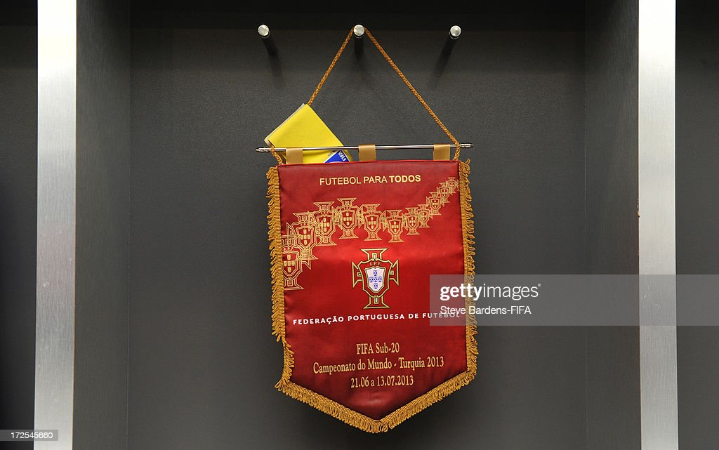 The Portugal match day pennant hanging up in the Portugal dressing room before the FIFA U20 World Cup Round of 16 match between Portugal and Ghana at Kadir Has Stadium on July 3, 2013 in Kayseri, Turkey.
