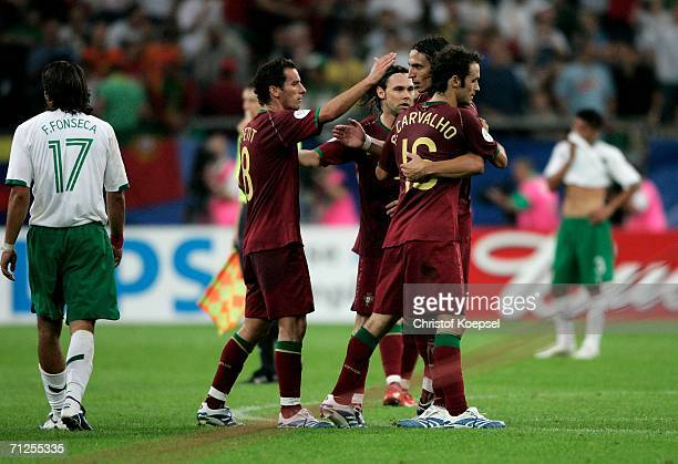 The Portugal team celebrate after winning the FIFA World Cup Germany 2006 Group D match between Portugal and Mexico 21 at the Stadium Gelsenkirchen...