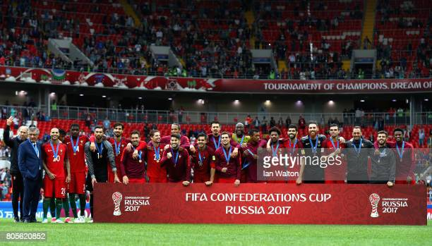 The Portugal team celebrate coming third after the FIFA Confederations Cup Russia 2017 PlayOff for Third Place between Portugal and Mexico at Spartak...