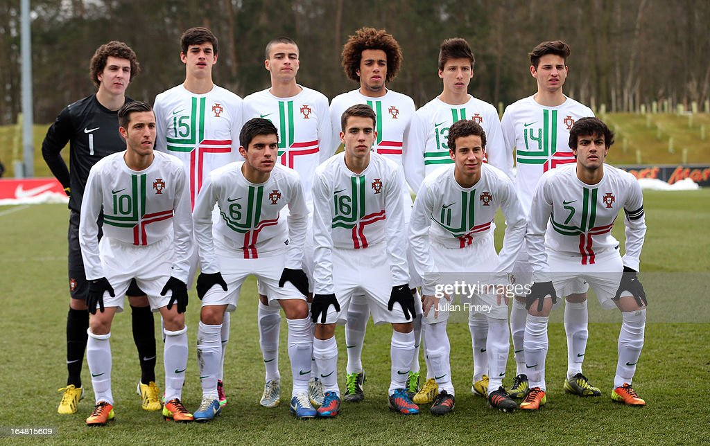 The Portugal team line up during the UEFA European Under-17 Championship Elite Round match between Russia and Portugal on March 28, 2013 in Burton-upon-Trent, England.