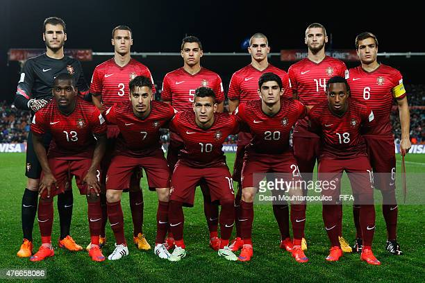 The Portugal team line up prior to the FIFA U20 World Cup New Zealand 2015 Round of 16 match between Portugal and New Zealand at Waikato Stadium on...
