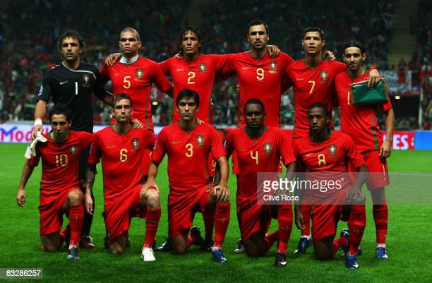 The Portugal team pose prior to the FIFA2010 Group One World Cup Qualifying match between Portugal and Albania at the Estadio Municipal de Braga on...