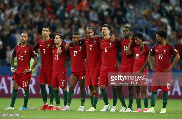 The Portugal team watch the penalty shoot out during the FIFA Confederations Cup Russia 2017 SemiFinal between Portugal and Chile at Kazan Arena on...