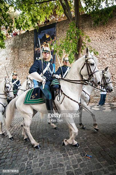 The Portugese National Republican Guard with sword performs military review at Castelo de Sao Jorge in Lisbon Portugal