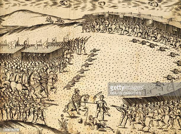 The Portuguese preparing to attack the Muslims in AlcererQuibir 4 August 1578 engraving by Leitao de Andrade created in 1629 Portugal 16th century
