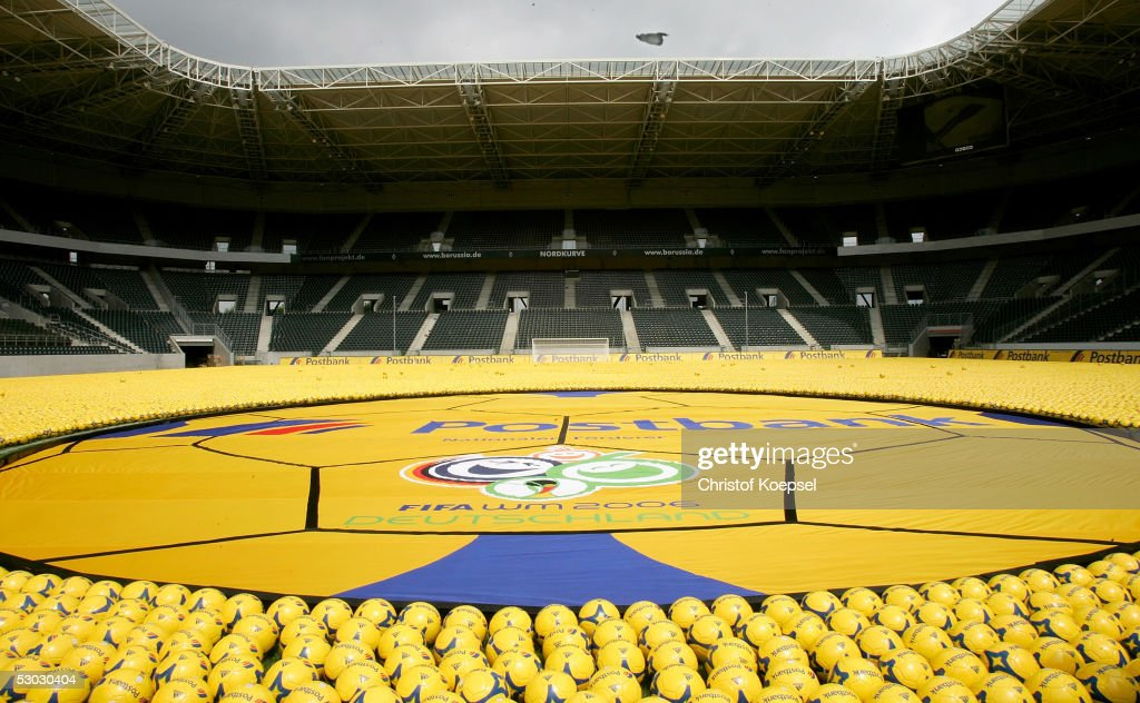 The Postbank logo in a sea of 142.000 footballs on the football ground of Borussia Moenchengladbach laid down to rech a new guinness record before the Postbank World Cup 2006 kick-off press conference on June 6, 2005 in Monchengladbach, Germany.