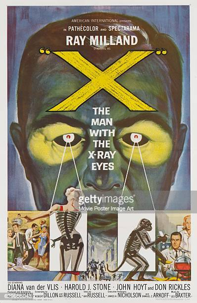 The poster for the 1963 science fiction film 'X The Man with the Xray Eyes' starring Ray Milland and directed by Roger Corman for American...