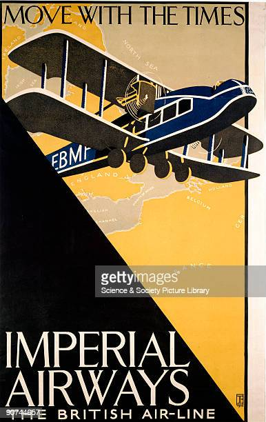 The poster shows a Handley Page W10 flying across a map of Europe Imperial Airways Limited was formed by the British government on 31st March 1924...