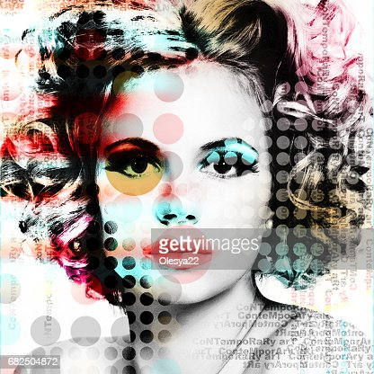 The poster with a portrait of a beautiful girl in the style of contemporary art. : Stock Photo