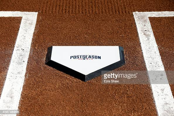 The Postseason homeplate sits ready for Game Three of the National League Division Series between the San Francisco Giants and the Washington...