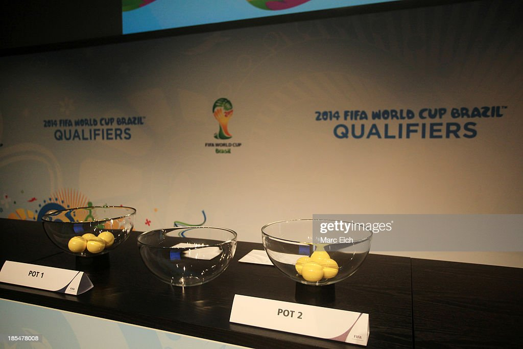 The pots are seen prior the FIFA World Cup 2014 European Zone Play-Off Match Draw at the FIFA headquarter on October 21, 2013 in Zurich, Switzerland.