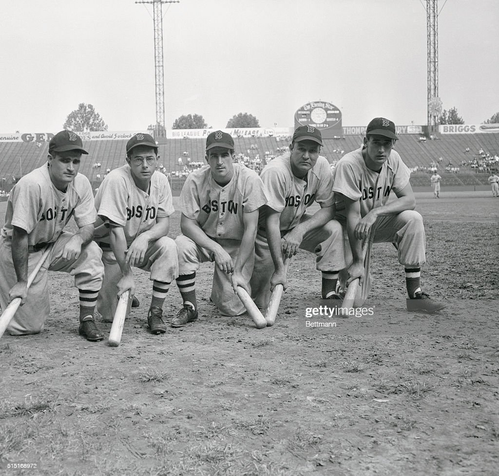 The power behind the Boston Red Sox drive for the American League pennant and a crack at the World Series came from these Big Sticks; Bobby Doerr, Dom DiMaggio, Johnny Pesky, Rudy York and Ted Williams, from left to right.