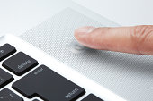 The power button and finger of PC