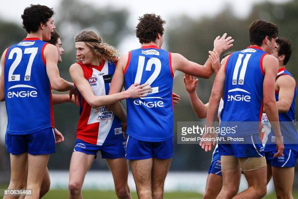 The Power celebrate a goal during the round 12 TAC Cup match between Gippsland and Sandringham at Casey Fields on July 8 2017 in Melbourne Australia