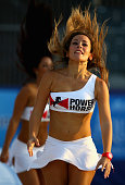 The Power Horse Beach Babes performs during the Samsung Beach Soccer Intercontinental Cup Dubai 2014 match between Brazil and the United States at...