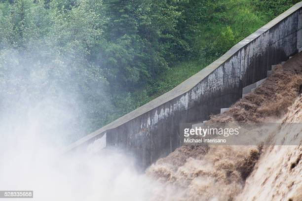 The Power Of Rushing Water During A Flood; Calgary, Alberta, Canada