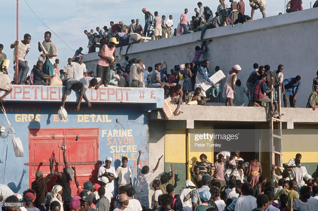The power struggle between General Raoul Cedras and President JeanBertrand Aristide was marked by massive looting and food riots across Haiti