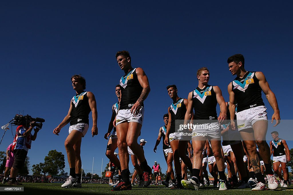 The Power team walk off at half time during the round two AFL NAB Challenge Cup match between the Adelaide Crows and the Port Adelaide Power at...