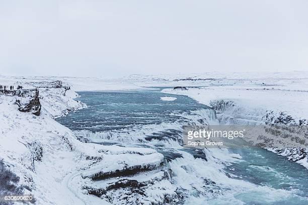 The powerfull Gullfoss waterfall in the middle of Thingvellir National Park on December 30 2016 in Reykjavik Iceland