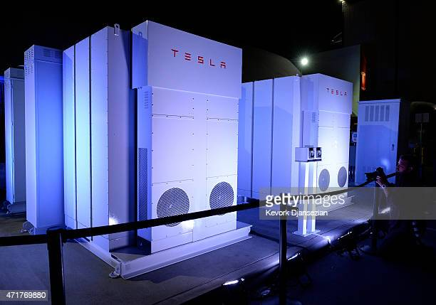 The Powerpack system which powered the news conference in seen after Elon Musk CEO of Tesla unveiled suit of batteries for homes businesses and...