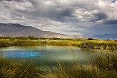 Cuatro Cienegas, Coahuila, Mexico - Nov, 06 - Before the rain on the wonderful Poza Azul (Blue Puddle) in the World Biosphere Reserve of Cuatro Cienegas, located at north of Mexico in the estate of Co