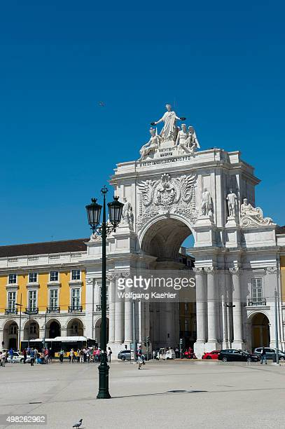 The Praca do Comercio with the arch in Lisbon the capital city of Portugal