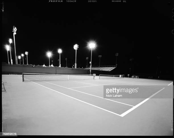 The practice courts lay vacant during a night session at the USTA Billie Jean King National Tennis Center in Flushing Meadows Corona Park on...