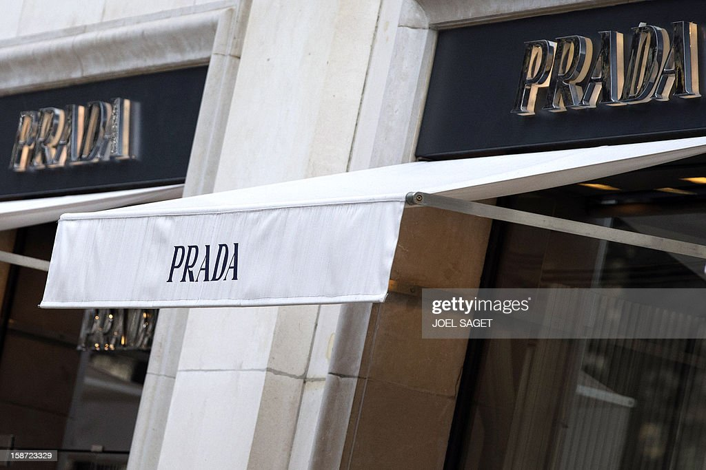 The Prada store name is pictured above the facade of a shop, on December 26, 2012 in Paris.