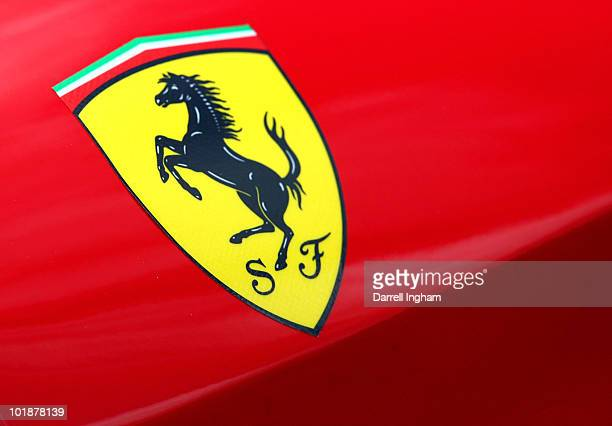 The Prancing Horse logo of Ferrari on the Risi competizione Ferrari 430 GTC during scrutineering for the 78th running of the Le Mans 24 hours race on...
