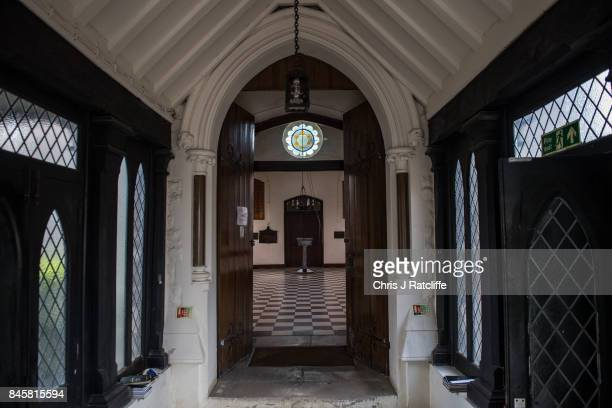 The prayer hall of the funerary buildings at Willesden Jewish Cemetery also known as the United Synagogue Cemetery on August 6 2017 in London England...