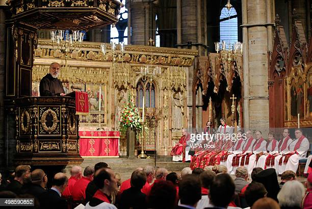 The Preacher to the Papal Household Raniero Cantalamessa speaks at Westminister Abbey during a service for the Inauguration of the Tenth General...