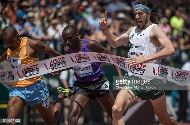 The Prefontaine Classic2015The USA's Ben Blankenship celebrates his victory in the men's international mile as he crosses the finish line ahead of...