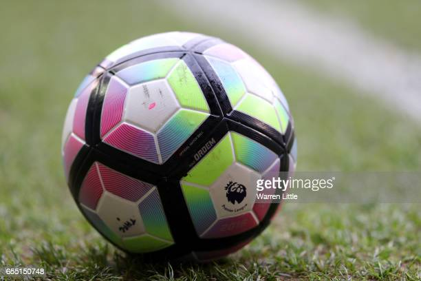 The preimer leauge ball is seen prior to the Premier League match between Tottenham Hotspur and Southampton at White Hart Lane on March 19 2017 in...