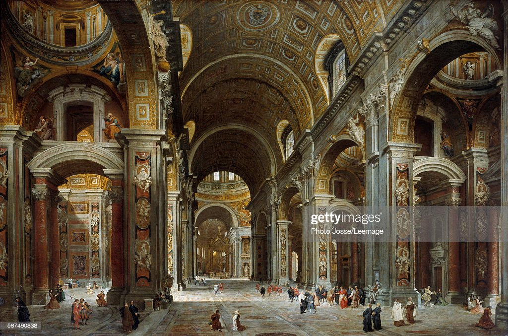 The prelate diplomat and poet Melchior de Polignac visiting St Peter's Basilica in Rome Painting by Giovanni Paolo Pannini 1730 15 x 225 m Louvre...