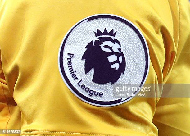 The Premier League badge on the shirt of Wilfried Zaha of Crystal Palace during the Premier League match between Everton and Crystal Palace at...