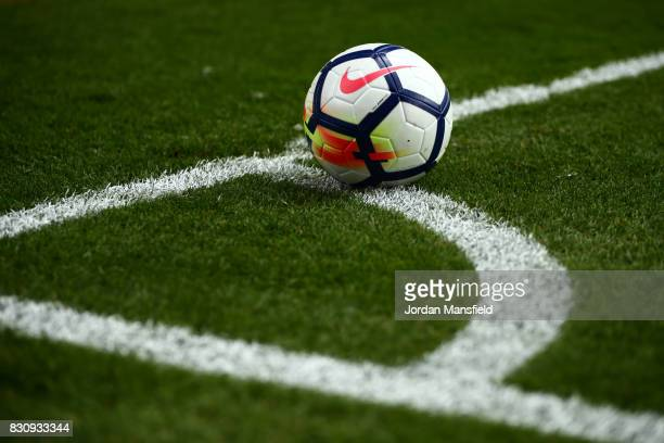 The Premier League ball is seen during during the Premier League match between Crystal Palace and Huddersfield Town at Selhurst Park on August 12...