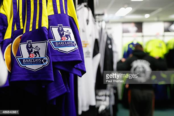 The Premier league logo is seen on a replica shirt ahead of the Barclays Premier League match between Swansea City and Aston Villa at Liberty Stadium...
