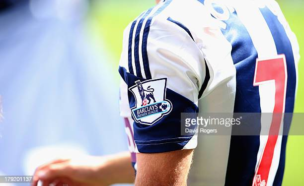 The Premier League logo on the sleeve of James Morrison of West Bromwich during the Barclays Premier League match between West Bromwich Albion and...