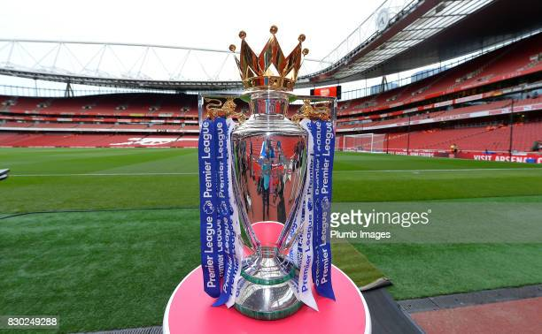 The Premier League Trophy at Emirates Stadium ahead of the Premier League match between Arsenal and Leicester City at Emirates Stadium on August 11...